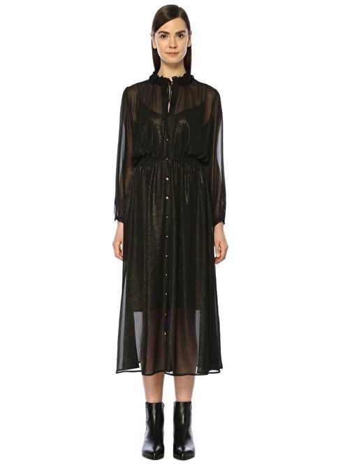 Beymen Club Dik Yaka Gold Simli Midi Şifon Elbise Siyah
